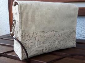 Nostalgische Mini Tasche Crossover bag clutch Umhängetasche Holzknöpfe Model 13